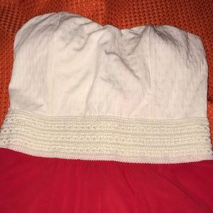 Rue 21 Strapless Formal Dress Small Red Cream